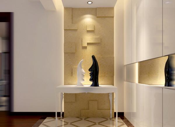 门厅 时尚装饰配合背景墙给人一种强烈的现代艺术气息。 亮点:现代装饰的点缀使简约的门厅增加时尚的气息,整体简洁的储物柜更突出了设计初衷。