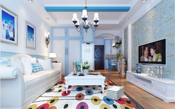 海洋的蔚蓝色为基调,搭配多种颜色极具梦幻色彩。亮点:回形顶的白充斥着条形的造型蓝,就连衣柜橱柜都是在白与蓝的环绕下,亲近自然。