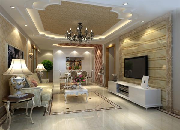 背景墙与吊顶都镶嵌了金色花纹完美体现了欧式新古典的风格再加上典雅的金色沙发点缀,更能彰显奢华的视觉效果。