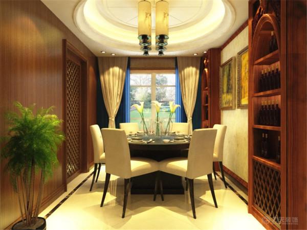 餐厅的吊顶和客厅的一样都是采用回字形吊顶,主要区别在于造型的不同,这样会跟客厅相互呼应浑然一体。地面也是用石材铺贴,有一圈波打线,再中间是石材拼贴的造型