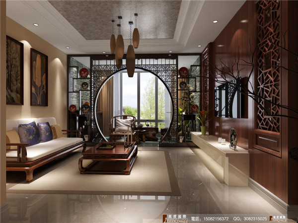 中铁瑞景城客厅细节效果图-成都高度国际装饰