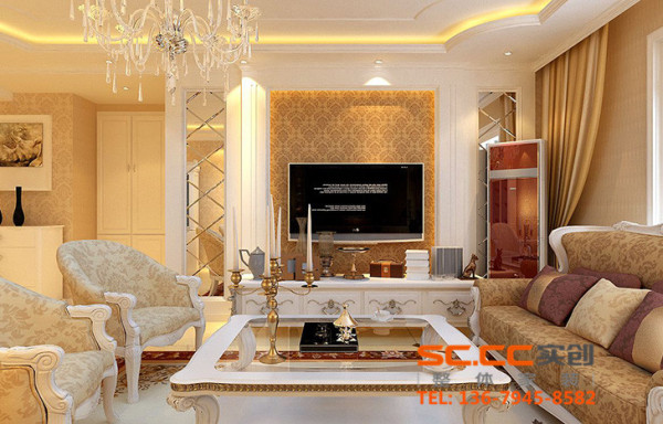 时尚的沙发与电视背景墙的呼应,让整个客厅营造出时尚、高贵、轻松、愉悦的视觉感空间,营造出一个朴实之中的时尚简欧家居设计。没有多余的装饰。
