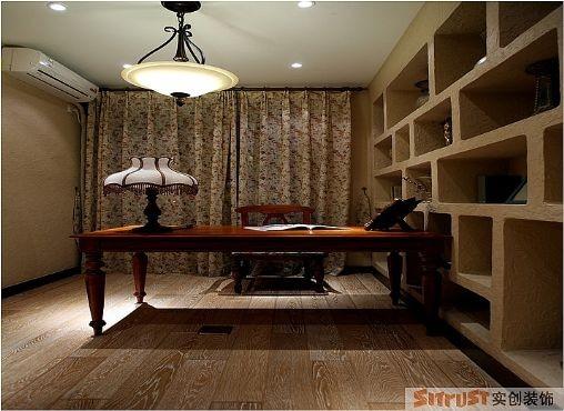 书房 设计理念:将书房打造为一个静心的氛围亮点:改变原有的板式书柜,把收纳的空间和墙面做为一体