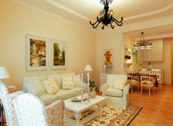 采用暖暖的米色调作为大面积墙面色彩,米色是比较中性的色调,男性女性都非常适合。客厅顶面造型都采用弧形,没有生硬的直线条,更加柔美温馨。