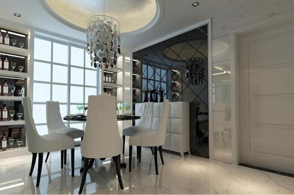 餐厅专为整个色调搭配的黑白色相间的餐桌椅,与主色调相呼应。一排酒柜静静地立于一旁,随时为主人服务。