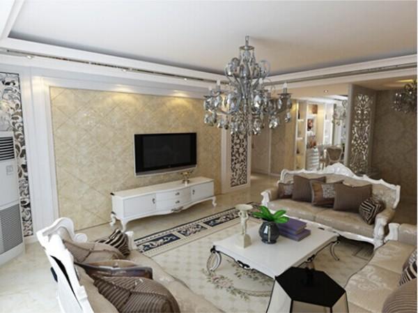 电视背景墙,暖色调大理石菱形铺贴 工艺,彰显欧式的大气典雅。玄关部分则采用柞木雕刻修色与结构浑然天成。