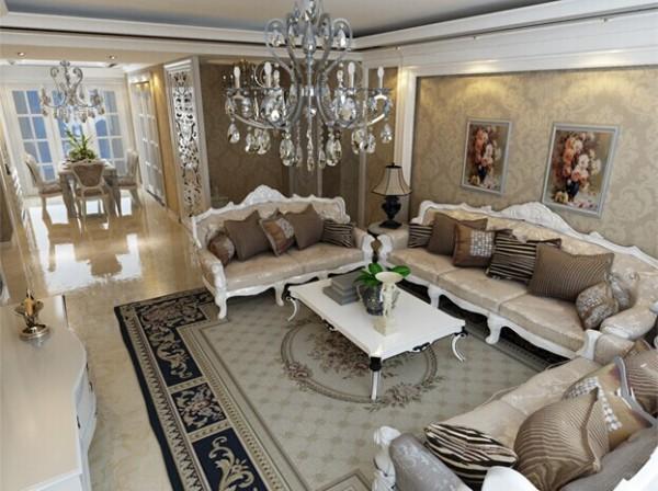 客厅采用石膏板平面吊顶,搭配欧式暖色花纹壁纸,整体给人简单温馨的感觉。白色欧式线条的点缀,使空间划分更加合理,为室内增加了灵动性。