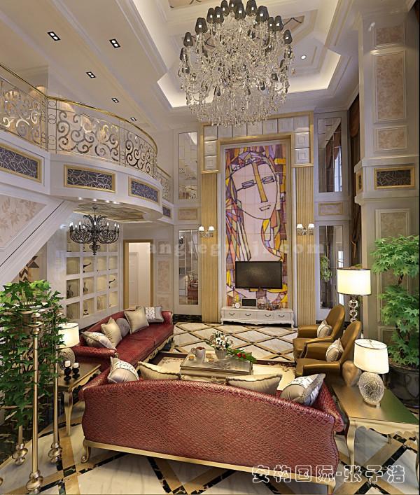 【客厅】地面使用浅色石材,凸显时尚、现代的风格特点,同时具有提亮空间的作用。背景墙是石材壁画,创意十足,也给整体浅色的空间带来一份亮丽。