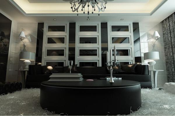 黑色真皮沙发套组静静地摆放在一边,黑色的真皮,既显示了主人的不一般品味,又提升了整个空间的质感。