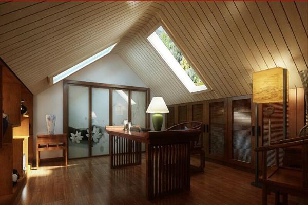 阁楼设计成书房,中式风格的书房充满艺术气息,体现了一种生活态度,也是一种高尚的美学,这种美学使奢华和随意维持着极好的平衡