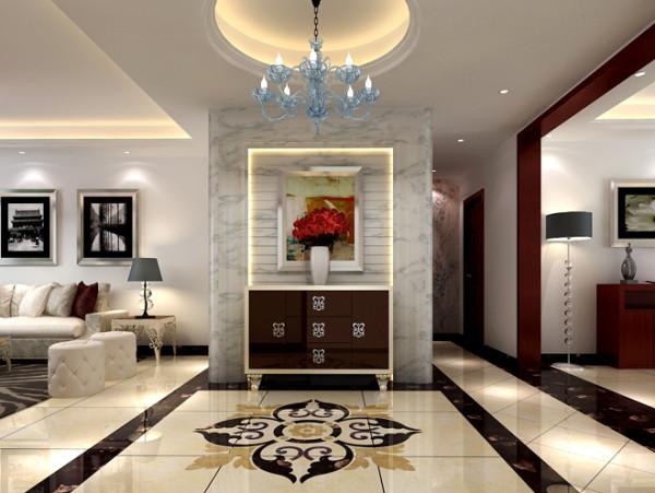 门厅实景图  设计说明:门厅印花地板设计与暗纹墙砖相呼应,门厅柜上摆放一盆新鲜的花,巧妙的融入了墙壁上悬挂的艺术品内,营造一种独特、时尚的个性品味
