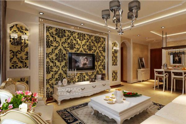 【今朝装饰www.xajzzs.com】:西安浐灞半岛-93平二居室-欧式风格(本小区装修设计120套)