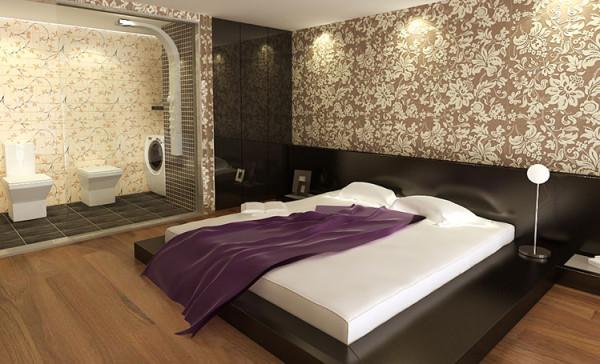 设计理念:卧室是居住空间的私密空间。是业主休息与生活的地方。 亮点:合理的运用了暖色调的色彩搭配,让空间看起来更安静,舒适,温馨。营造了温馨,时尚的休息空间。
