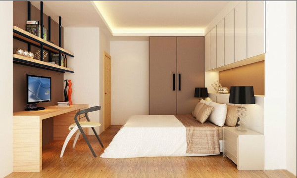 次卧室-大量的收纳需求,回应于床头上柜;书架使用铁件搭配木作,增加视觉变化。