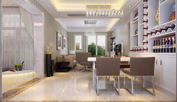 设计理念:餐厅的空间讲究对称且划分简单合理,给了主人们更充裕的自由活动空间 亮点:餐厅旁边的酒柜给了客户很多摆放自己酒的地方,比较方便。