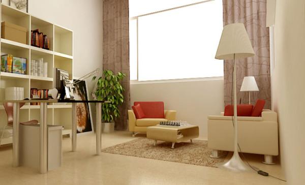 设计理念:闲暇时光,不管是读书办公还是娱乐都身心愉悦。 亮点:书柜和书桌椅都简约明快,可爱别致,室内大面积采用高度反光的淡黄色地板,在光线的作用下愈加清透,整体给人的感觉淡雅而清新,无限惬意。