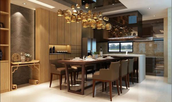 餐厨区-电梯口正巧面向 餐厨空间,搭配不锈钢面材的厨具,在木纹表情中提升存在感,而抢眼的灯饰透过反射也是极其抢眼。