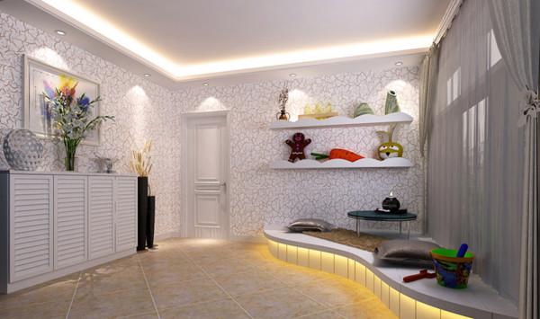 """设计理念:将此儿童房打造为一个娱乐空间,清新亮丽的颜色营造了儿童天真活泼的氛围。 亮点:当打开家门,展现在面前的不再是""""赤裸""""的客厅与卧室。"""