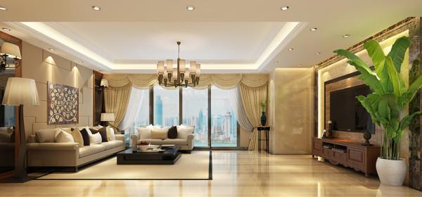 设计理念:结合业主的要求,强调外形简洁,注重功能性。减去繁琐的装饰,在材料上运用瓷砖、大理石,装饰镜面,硬包。搭配出简约大气的客厅。空间显得更加的宽敞,明亮。