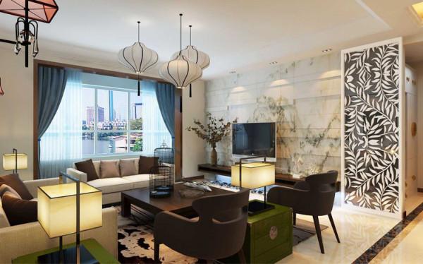 极具设计感的沙发搭配古典茶机使得空间时代感极强,同时又不失品位。石材电视墙很有视觉冲击力,一字型的电视柜时尚更实用,空间整体性强