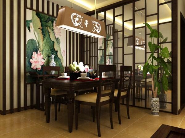 餐厅造型墙采用镜面雕花隔断相结合,空间讲究对称且划分简单合理,给了主人们更充裕的自由活动空间,搭配绿植,家庭氛围更加愉悦。