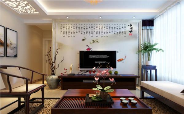设计理念:稳重的红木家具体现着古典感,与云朵般纯粹的洁白,相互渗透,形成鲜明的对比。 亮点:电视墙整体的壁画,端庄大方,更有中国传统文化的气息。木质的家具的打造完美的午后休闲时光。