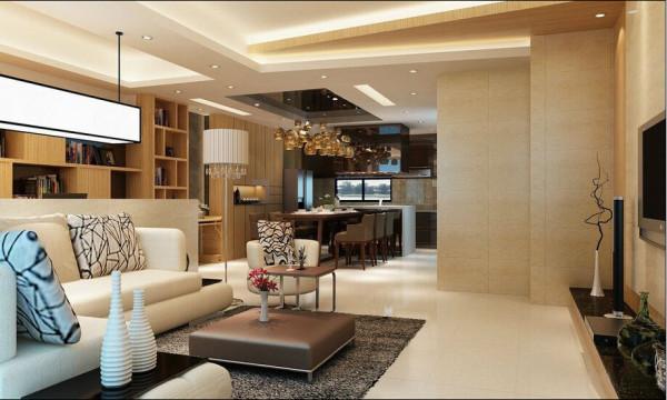 客厅面宽甚广,设计者搭配矮墙用以划分书房,使空间感更见比例平衡之美。