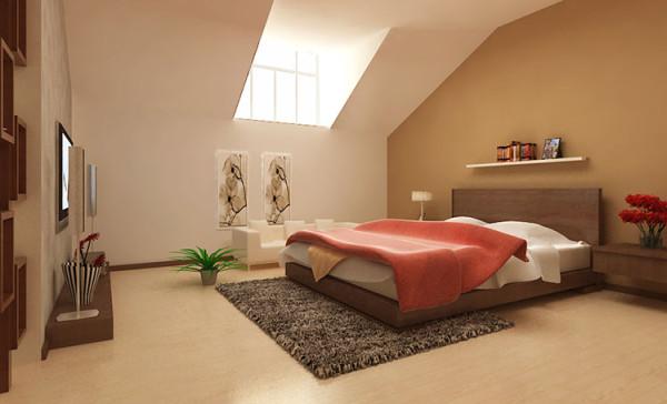 设计理念:舒适怡人,清新自在,没有都市的喧嚣奢华,悠然自在。 亮点:卧室选择了比较柔和的暖色调,使人轻松自在、心情舒畅,可爱的天窗配以舒适的小沙发,读书喝茶自在无限。