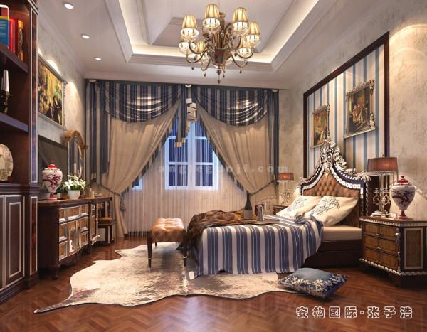"""在沿袭传统的基础上,卧室设计更多的追求居家的实用性,装饰上继承了传统古典风格的特点,吸取了其风格""""形神""""的特征。在设计上追求空间变化的连续性和形体变化的层次感。"""