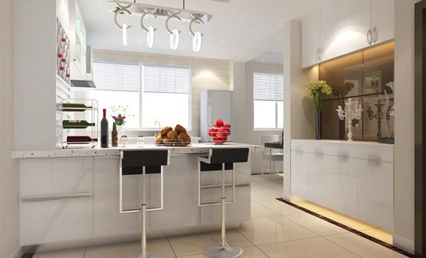 厨房与餐厅空间的对调,让专门打造的整体橱柜由纯功能性使用的柜子变为展示性的家居元素,开放的不仅仅是厨房,更是一个家的全方位展示,让女主人可以与家人面对面的简单烹饪,其乐融融。