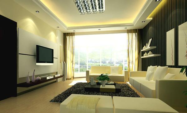 设计理念:客厅设计时尚、极简、棱角分明、冷峻前卫。 亮点:线条简约利落,色调明快,占据大面积的白色绒面沙发柔软奢华,和线条硬朗明快的深色木质电视柜、茶几一起玩味混搭。
