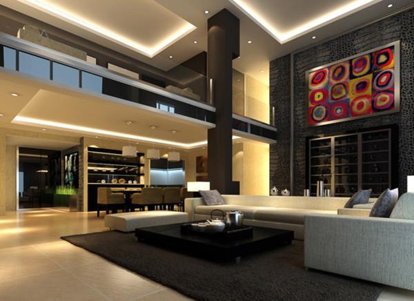 设计理念:客厅采用了现代风格简洁流畅的线条,使客厅看起来特别有气质,客厅有跃层,让人眼前一亮。 亮点:客厅与之前的书房打通,把书房融入了客厅,使整个空间更大气。