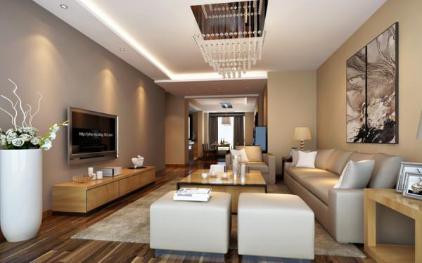 整个客厅以暖色调为主,电视背景墙运用了咖啡色,使整个空间既显温馨又不失典雅。