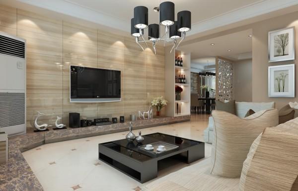 客厅简洁沉稳为主,电视背景墙配以木纹砖传达宁静自然的氛围,砖砌电视柜衬托独有格调感觉。