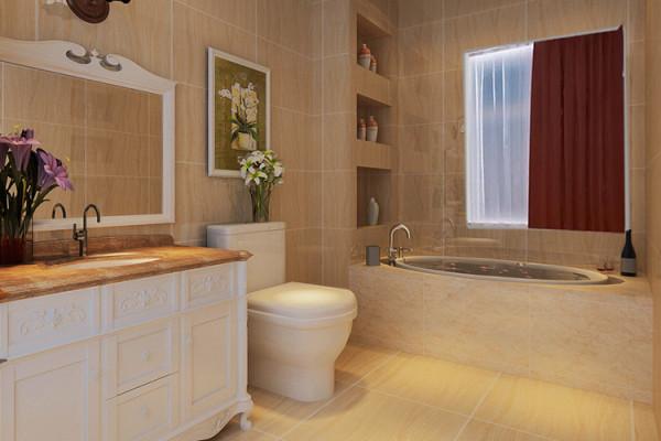 橡树玫瑰城130平方三室两厅样板间装修方案---卫生间装修效果图