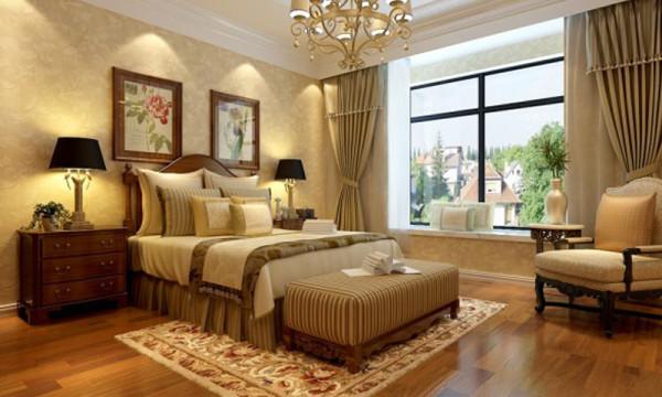 卧室,石家庄轻舟装饰-建投十号院251平美式新古典装修效果图