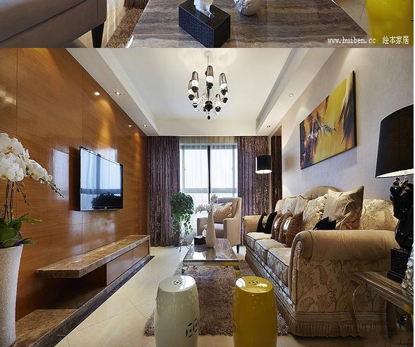 客厅的电视墙设计得十分的简单,简单的木纹装饰 显得相当的大气和欧式软装的复杂形成对比,同时也简化了客厅的复杂感,显得不是那么的拥挤。