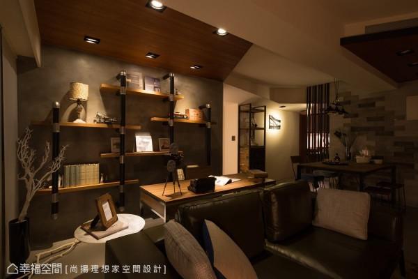 延续地面转折而上的盘多磨壁材,让不锈钢管与柚木层板构成的装置书柜,自然成为空间一景。