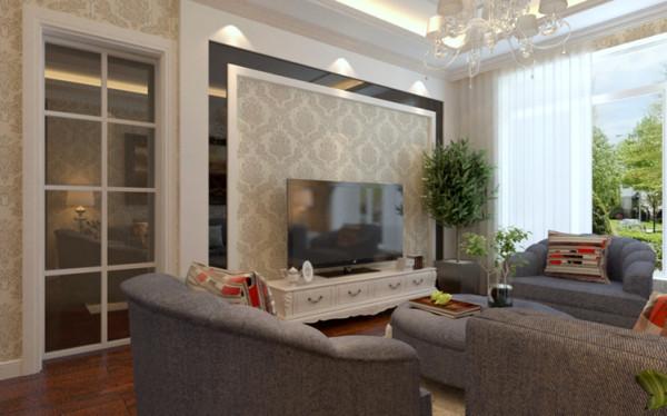 客厅用石膏板吊顶然后用石膏线圈线,电视墙运用了石膏线、壁纸和黑色烤漆玻璃,让整个电视墙立体感强烈,突出了主次分明的感觉,让人感觉高端大气