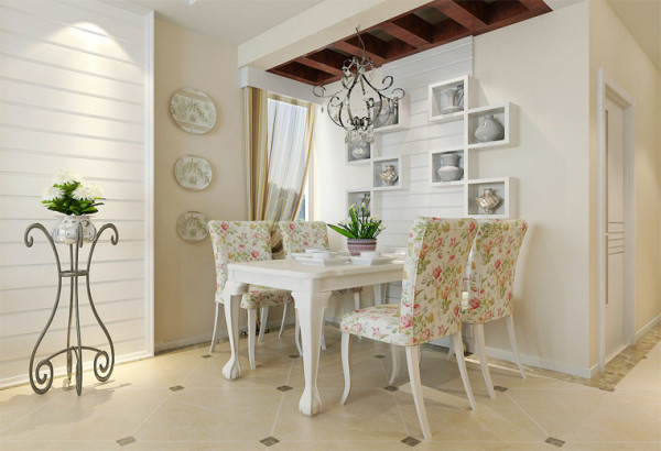 独立的餐厅,以象牙白颜色的餐桌及椅子,时尚简约体现出现在的生活态度和情趣。配合具有文化气息的装饰品让整个空间更能体现出美好的。