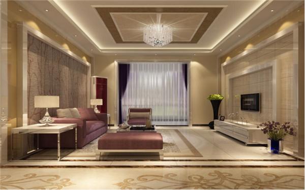 客厅以暖色调为主,电视背景墙采用石材搭配,石材边线勾勒出的框架突出