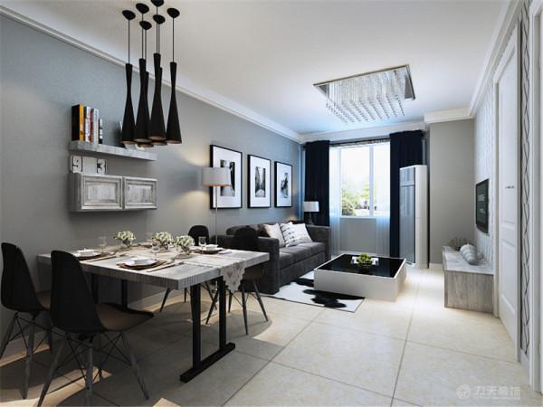 说明     本案为橡树湾标准层户型两室两厅一厨一卫75㎡的户型。这次的设计风格定义为现代简约风格。     本案在总体上呈现多元化,兼容并蓄的状况。室内布置是以黑白灰色家具为主,对比色比较强。