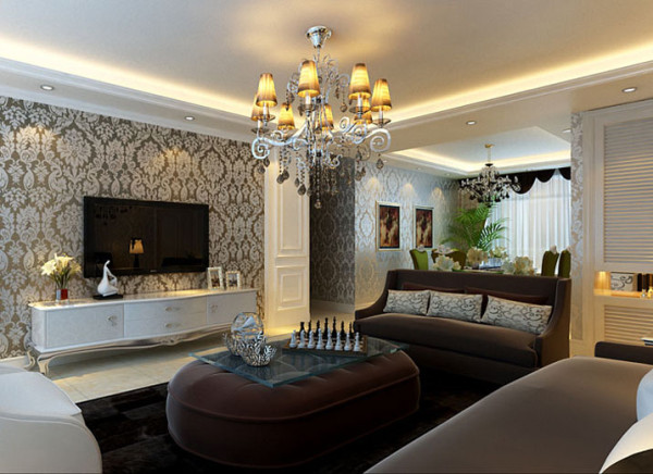 设计理念:以白色为主的电视背景墙造型和地砖,搭配全屋香槟色的大花壁纸,让客厅显得肃静的同时,又提升质感。 亮点:白色的装修搭配咖色的布艺家居,撞色中尽显和谐。