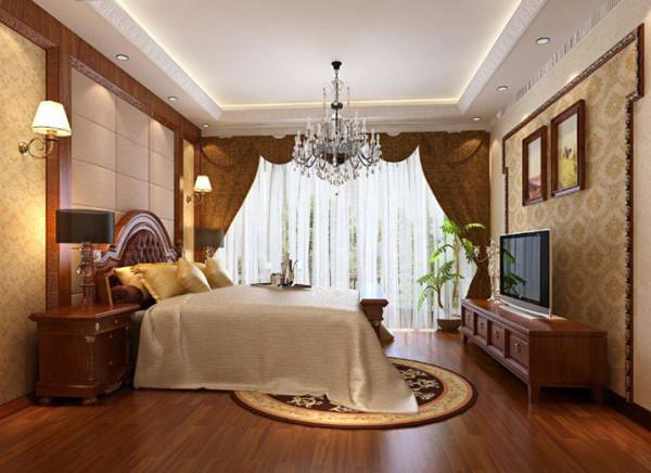 设计理念:软包床头北京结合板材直线造型,点缀单调的房间。 亮点:简单的电视背景墙,缺勾勒出房间的视觉焦点,简单中透着奢华。