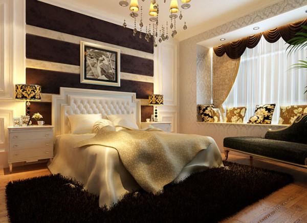 设计理念:和电视背景墙相同造型的床头背景墙,搭配棕色软包与客厅相呼应。         亮点:直线的白色造型,中间搭配咖啡色软包,打造欧式风格的同时,又增加了清新宁静的氛围。