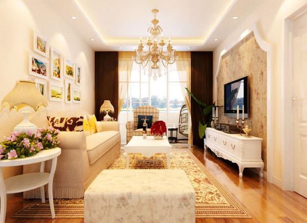 客厅韩式田园客厅设计理念:简易而不简单。 亮点:作为待客区域,要求简洁明快,同时要求空间更加明快光鲜,在小碎花的墙纸,水晶吊灯的装饰下,绿植的搭配,让空间不再简易。