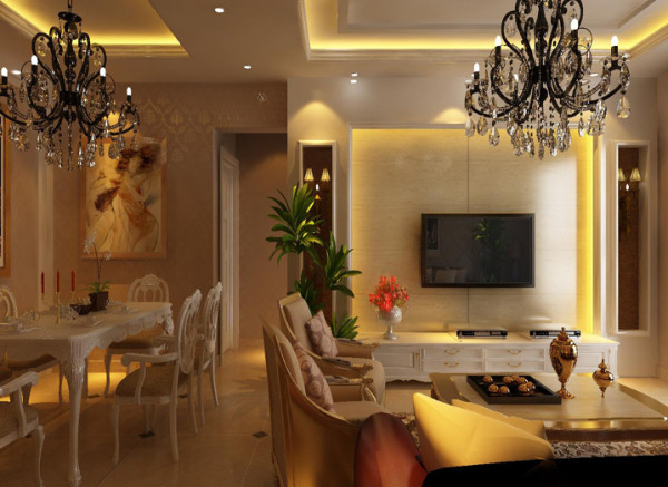 设计理念:电视墙往外凸出120mm,藏暖光灯带。沙发背景使用深褐色墙纸及软包饰面。线条收边。墙面硬朗的线条装饰让空间不再单调。 亮点:深褐色大沙发是空间里的重色,为整体色彩加了稳重一笔,柔中带刚。