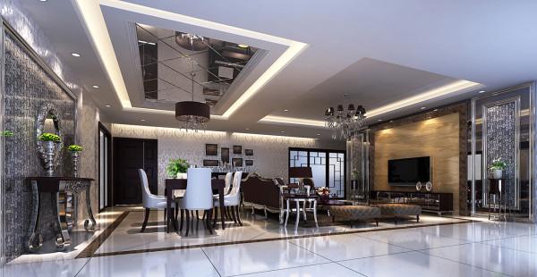电视背景采用奢华的米黄色大理石,显然是整个空间最为引人注目的欣赏之处,能够使整个空间舒适又华贵的现代风格。