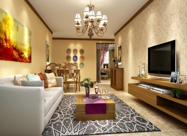 客厅以大气优雅为主,整个电视背景墙有一个隐形门的设计,采用藤制壁纸,清新淡雅,拉长了整个空间,形成一面墙的整体感和功能分区,没有过多的装饰。