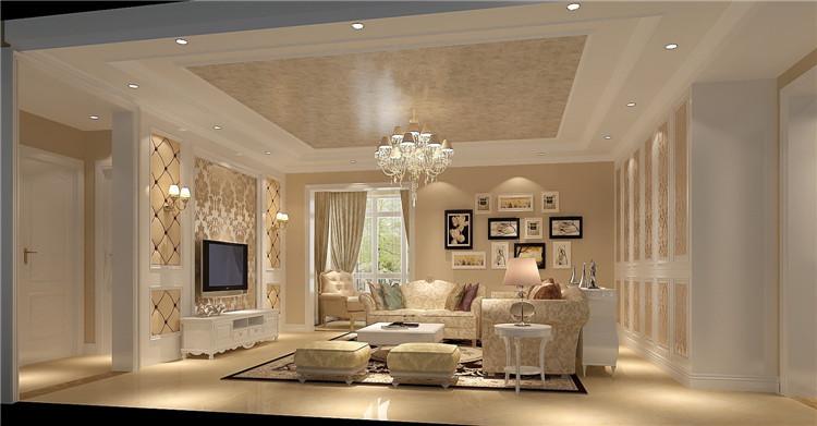 装修效果图 壁纸的花纹选择,客厅的软包及家具的搭配, 体现了欧式风格图片